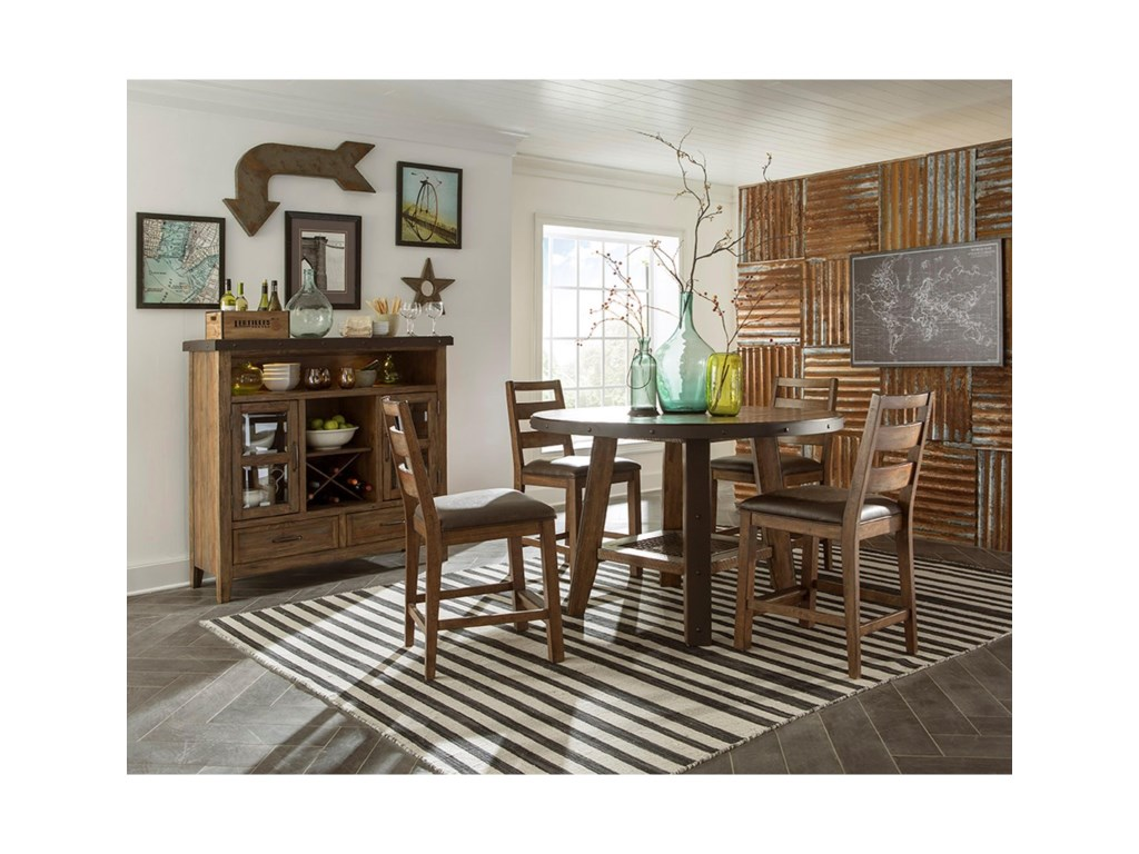 Intercon Taos Rustic Round Gathering Table with Wire Shelf ...