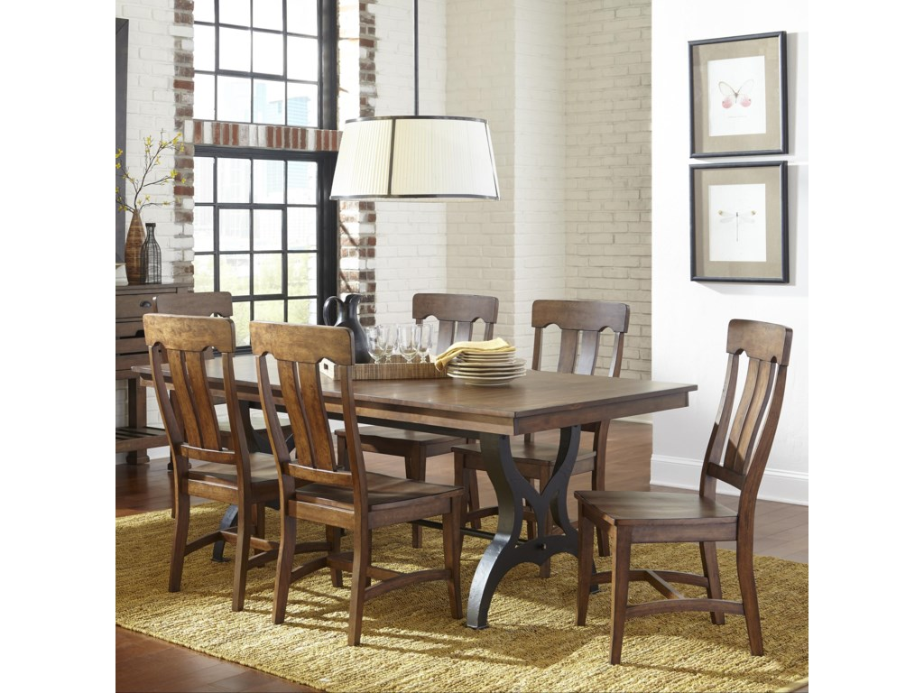 intercon the district 7 piece table chair set with leaf old brick furniture dining 7 or more piece sets - Old Brick Dining Room Sets