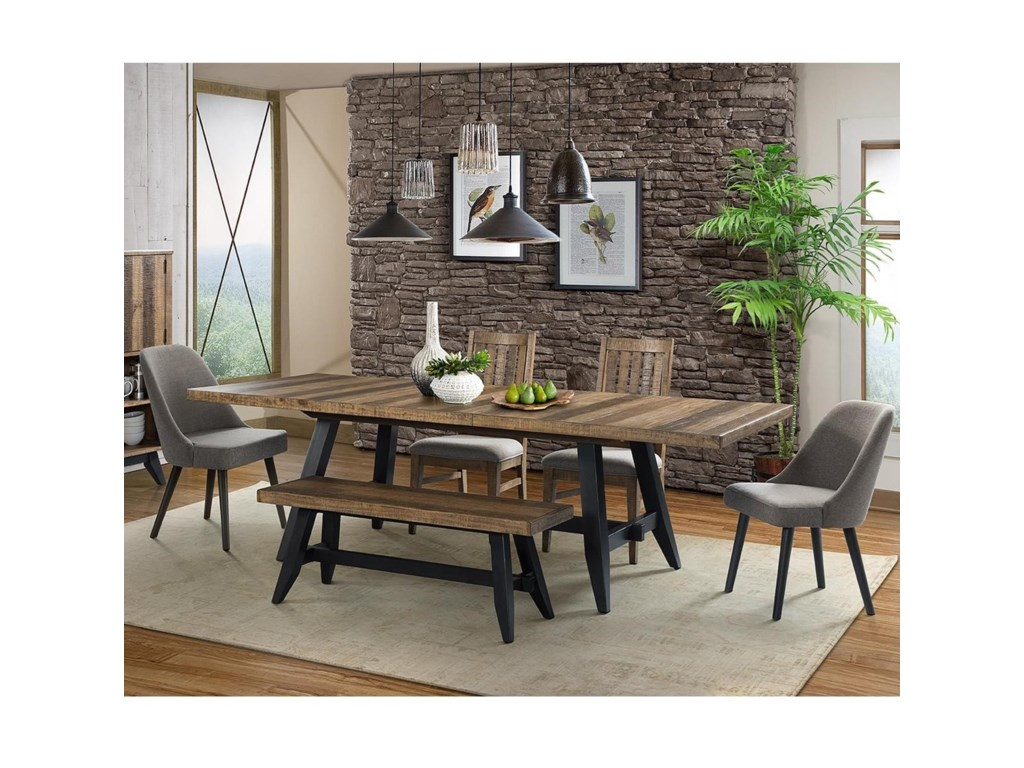 Intercon Urban Rustic 6 Piece Table and Chair Set with Bench