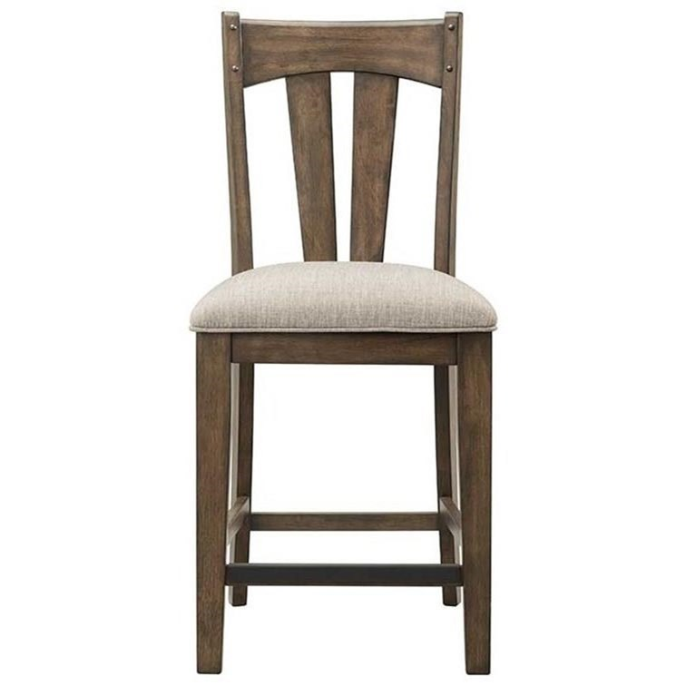 Intercon Whiskey River Rustic Upholstered Barstool With Slat Back