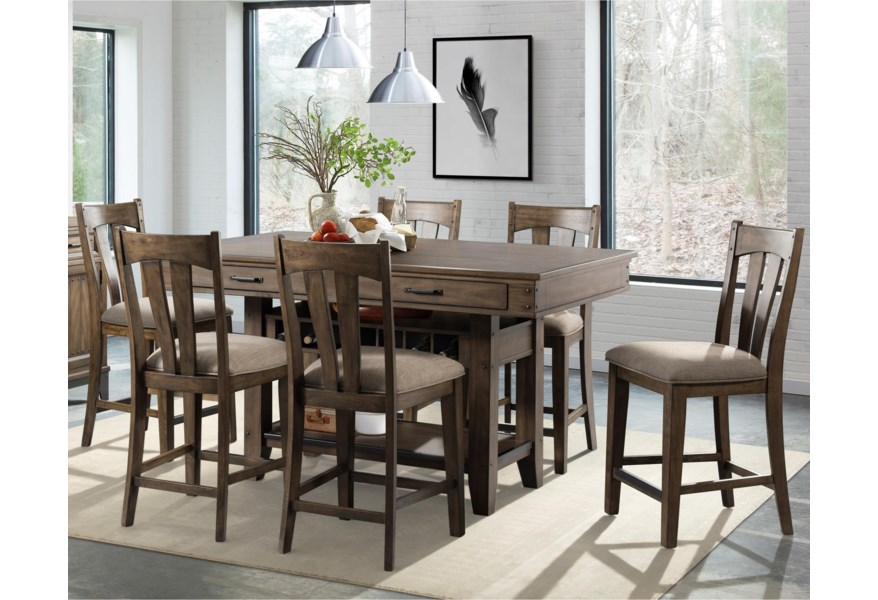 Intercon Whiskey River Rustic 7 Piece Counter Height Dining Set With Wine Storage Rooms For Less Pub Table And Stool Sets