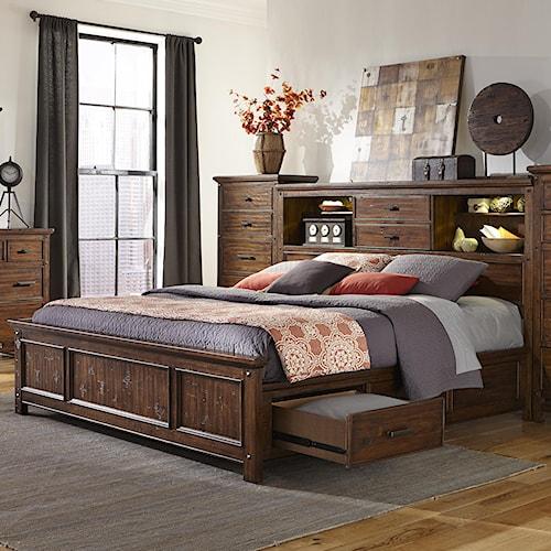 Intercon Wolf Creek Queen Bookcase Bed With Storage Rails