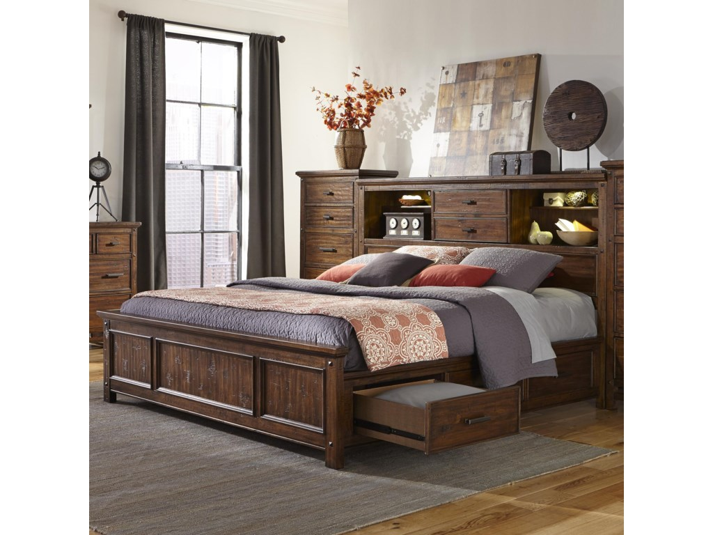 Intercon Wolf CreekQueen Bookcase Bed with Storage