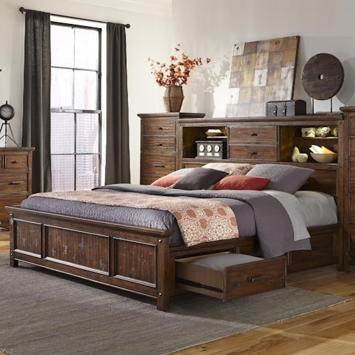 Intercon Wolf Creek Queen Bookcase Bed with Storage Rails