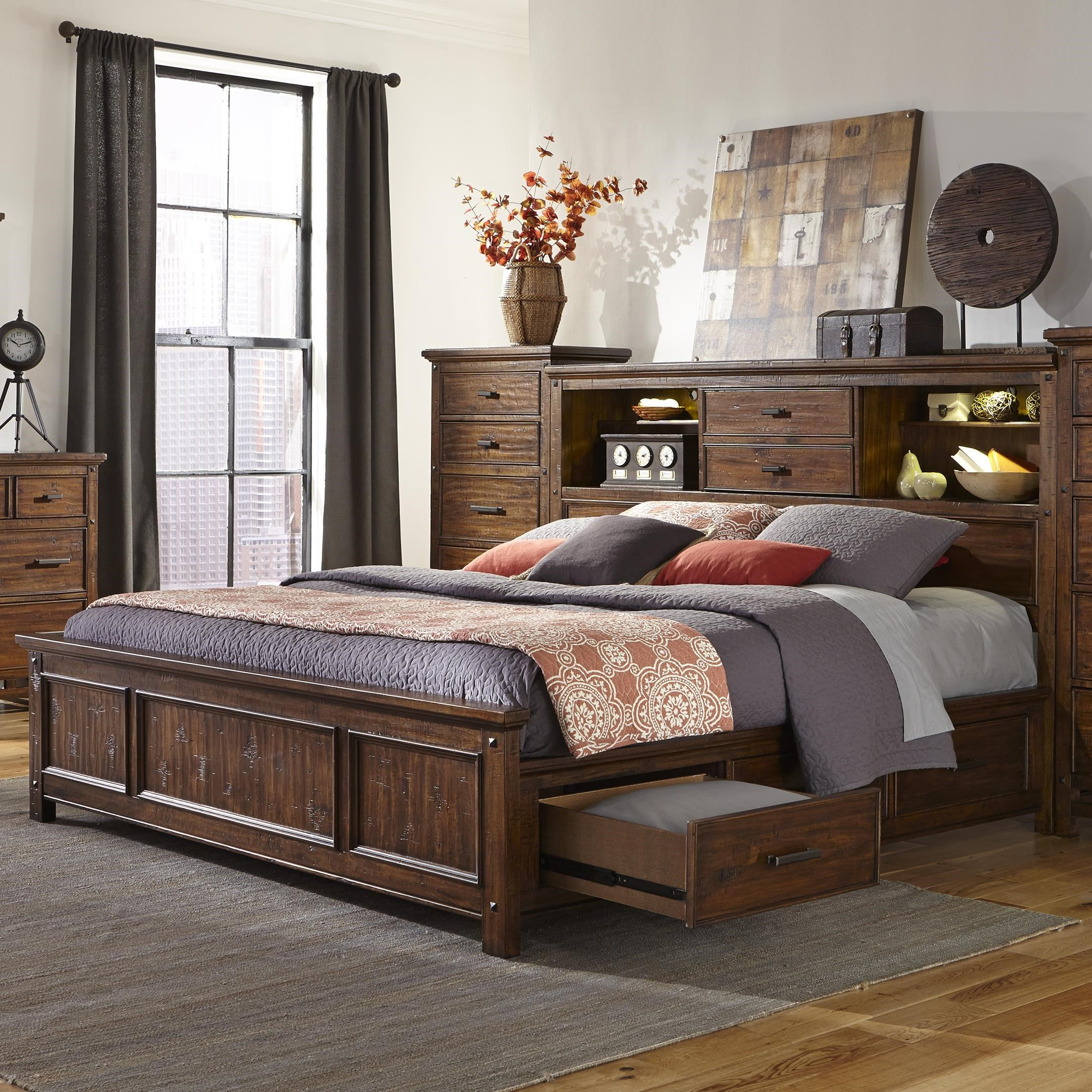 intercon wolf creek queen bookcase bed with storage rails furniture bookcase beds
