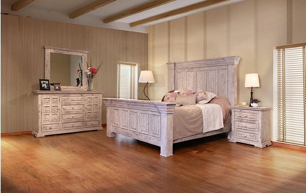 International furniture direct 1022 terra whiteking bed dresser mirror and nightstand