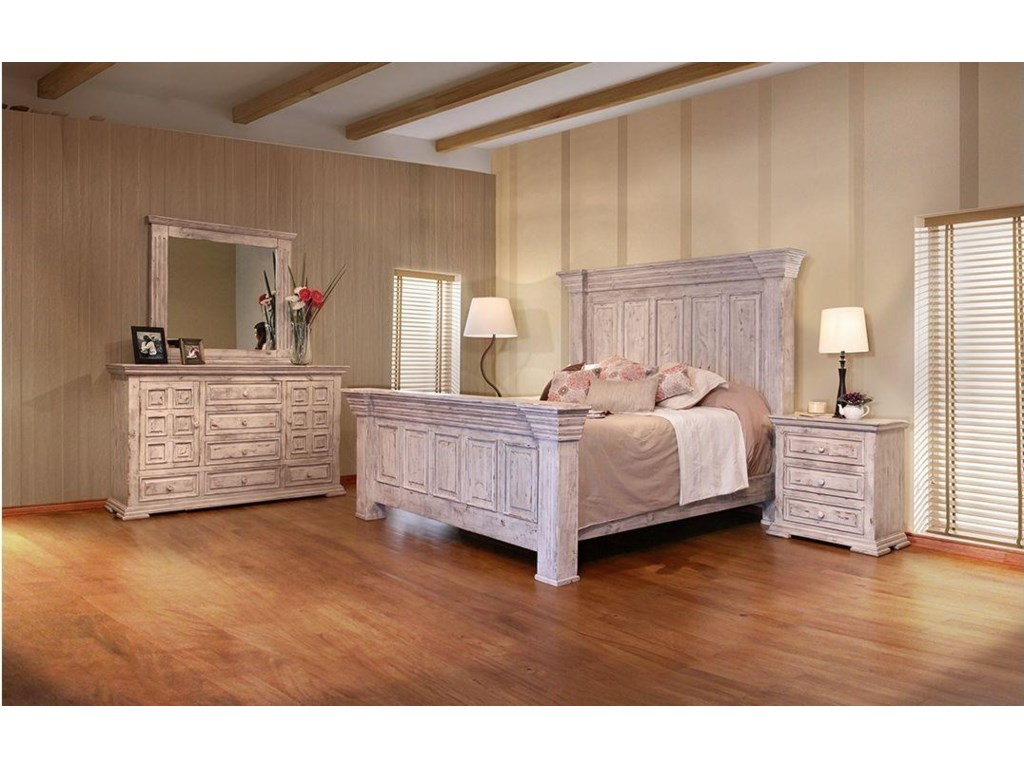 International Furniture Direct 1022 Terra WhiteKing Bed, Dresser, Mirror and Nightstand