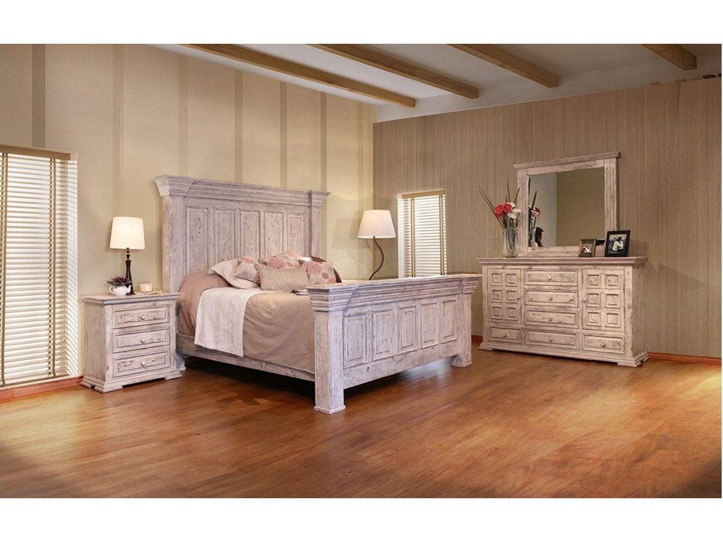 International Furniture Direct 1022 Terra WhiteQueen Bed, Dresser, Mirror and Nighstand