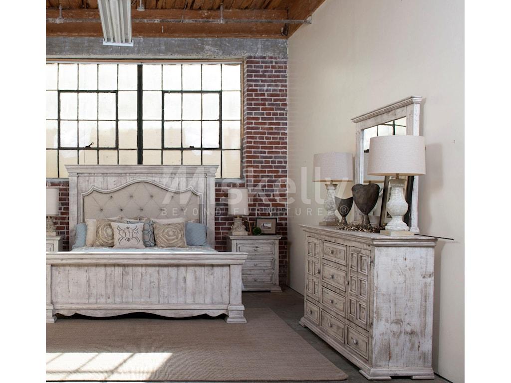 International Furniture Direct 1022 Terra WhiteQueen Bed, Dresser, Mirror and Nighstand