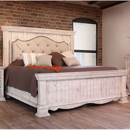 International Furniture Direct Bella King Bed with Upholstered Headboard
