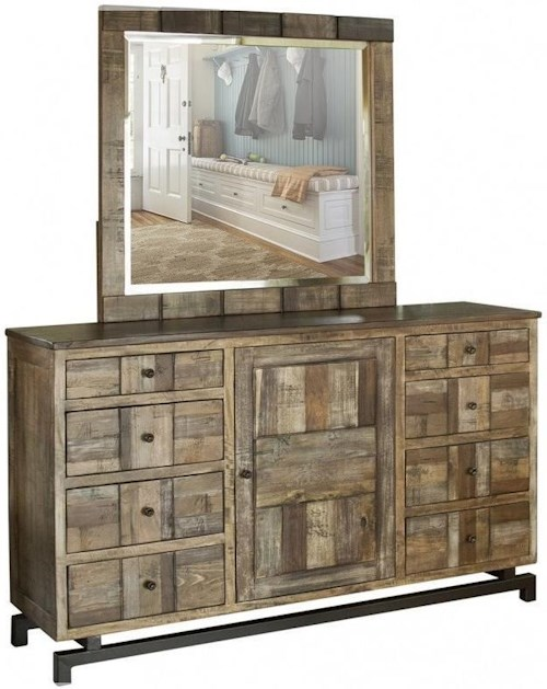 International Furniture Direct 220 Queretaro Rustic Solid Wood 8 Drawer and 1 Door Dresser and Mirror