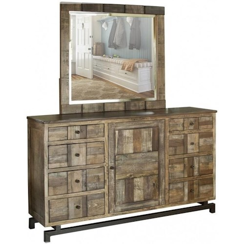 International Furniture Direct Queretaro Rustic Solid Wood 8 Drawer and 1 Door Dresser and Mirror