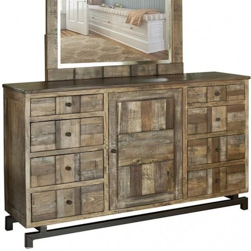 International Furniture Direct Queretaro Rustic Solid Wood 8 Drawer and 1 Door Dresser with Microfiber Lined Top Drawers