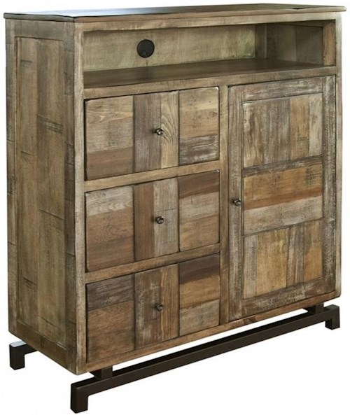 International Furniture Direct 220 Queretaro Rustic Solid Wood 3 Drawer and 1 Door Media Chest