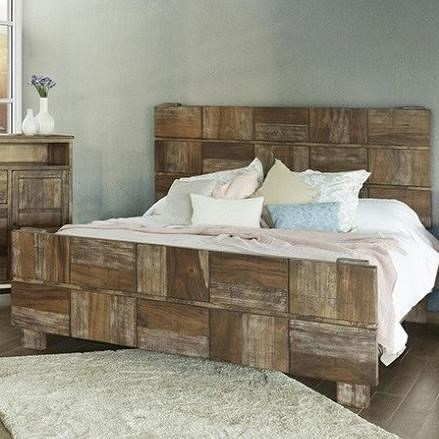 International Furniture Direct Queretaro Rustic Solid Wood Queen Low Profile Bed