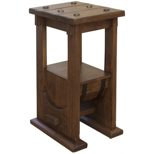 International Furniture Direct Bourbon Industrial Barrel Chairside Table