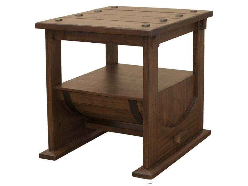 International Furniture Direct BourbonBarrel End Table