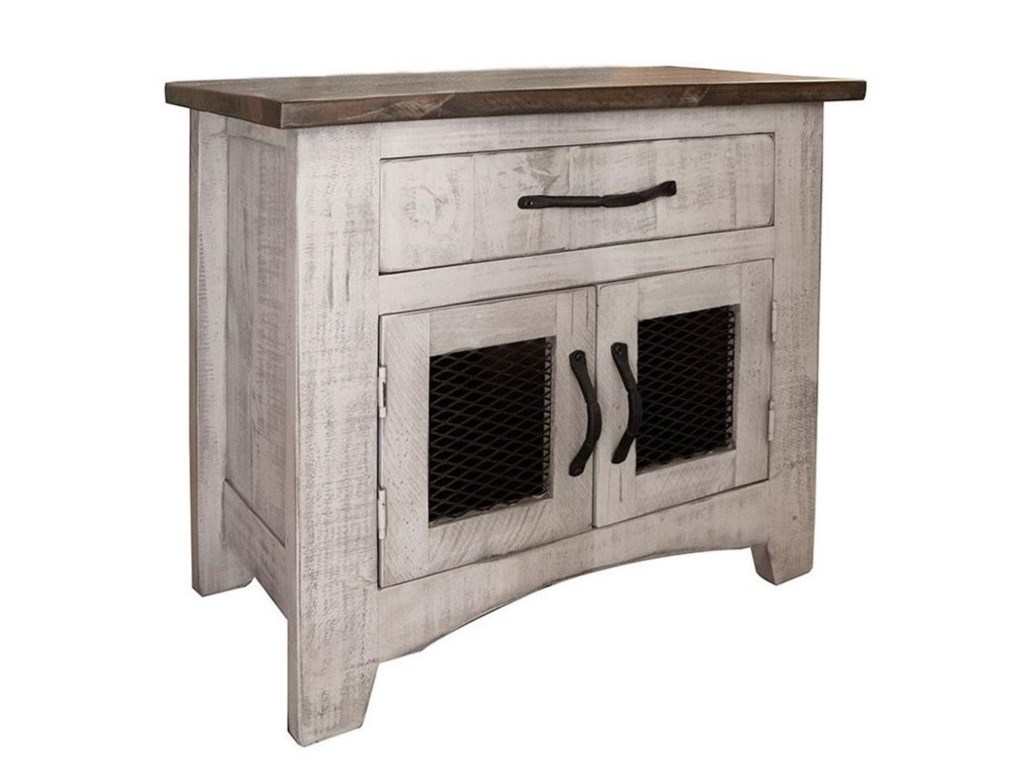 International Furniture Direct PuebloNightstand with 1 Drawer and 2 Doors