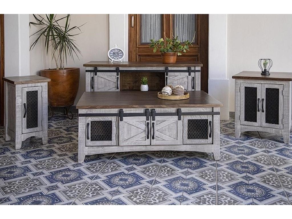International Furniture Direct PuebloSofa Table with 4 Doors
