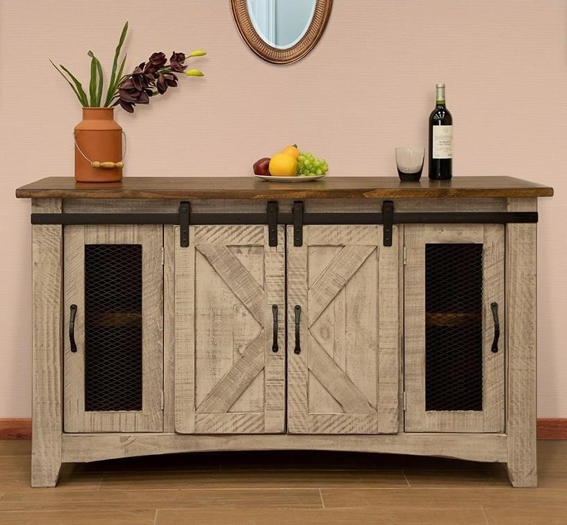 """Rustic 60"""" TV Stand with 4 Doors"""