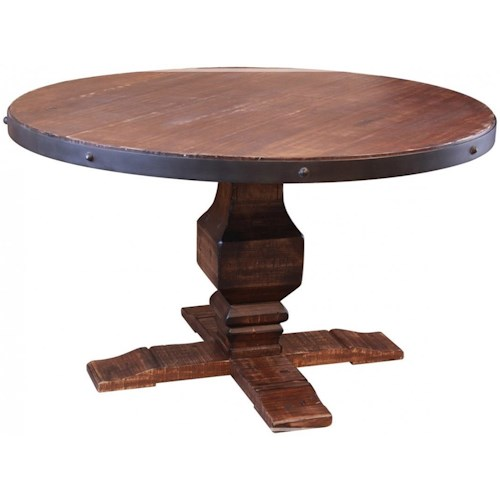 International Furniture Direct Pueblo Round Table with Hand Carved Pedestal Base