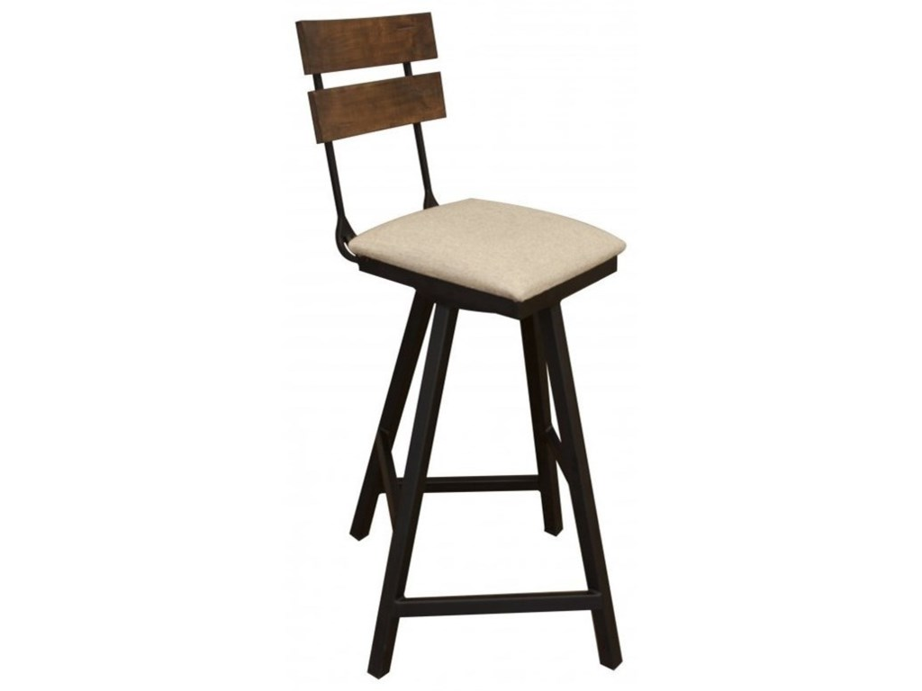 International Furniture Direct PuebloSwivel Barstool w/ Fabric Seat & Iron Base