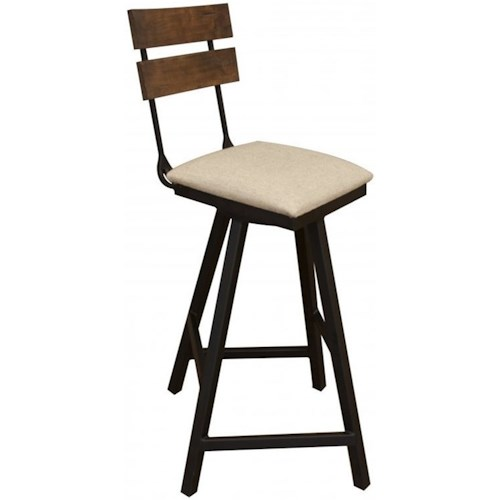 International Furniture Direct Pueblo Transitional Swivel Barstool with Fabric Seat and Iron Base