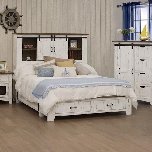 International Furniture Direct Pueblo Rustic King Storage Bed with Sliding Doors