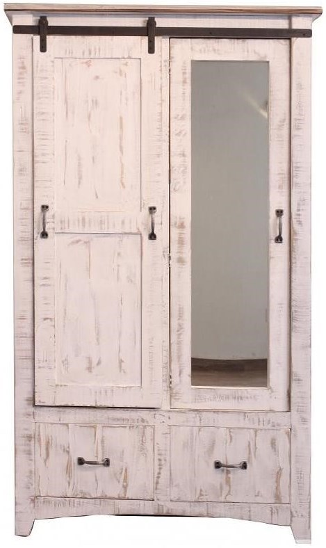 International Furniture Direct Pueblo Armoire with Sliding Door and Mirror