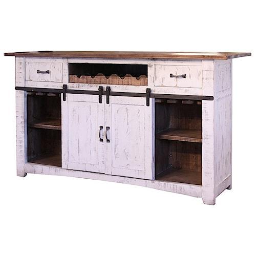 International Furniture Direct Pueblo Wooden Bar with Iron footrest