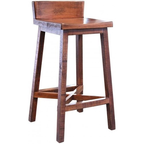 International Furniture Direct Pueblo Solid Wood Bar Stool