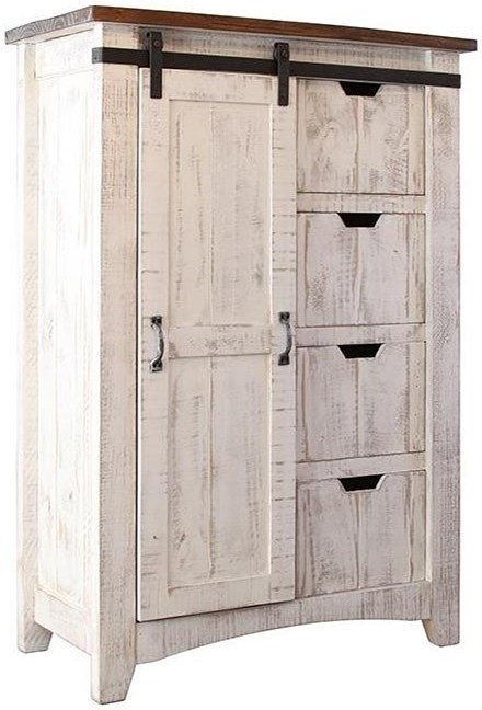 International Furniture Direct Pueblo Chest with Sliding Door and Four Drawers