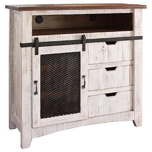 International Furniture Direct Pueblo TV Stand with Sliding Mesh Door