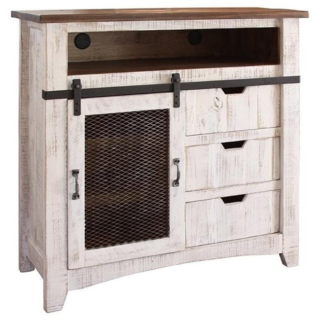 International Furniture Direct Pueblo Tv Stand With Sliding Mesh