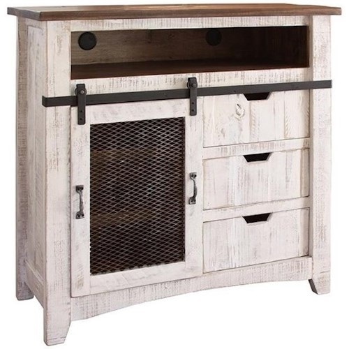 International Furniture Direct Pueblo TV Stand with Sliding Mesh Door