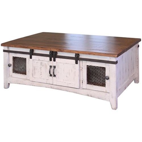 International Furniture Direct Pueblo Rustic Cocktail Table with Mesh Panel Accents and Sliding Doors