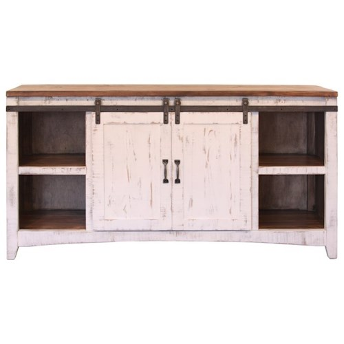 International Furniture Direct Pueblo Console Table with Sliding Doors