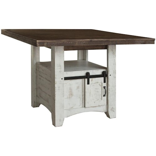 International Furniture Direct Pueblo Rustic Solid Wood Counter Height Table with 2 Doors