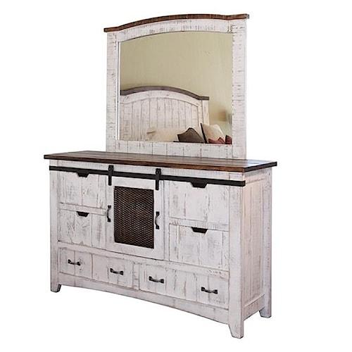 International Furniture Direct Pueblo Distressed Dresser and Mirror Set