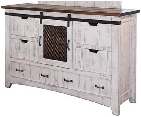 International Furniture Direct Pueblo Dresser with Sliding Mesh Door