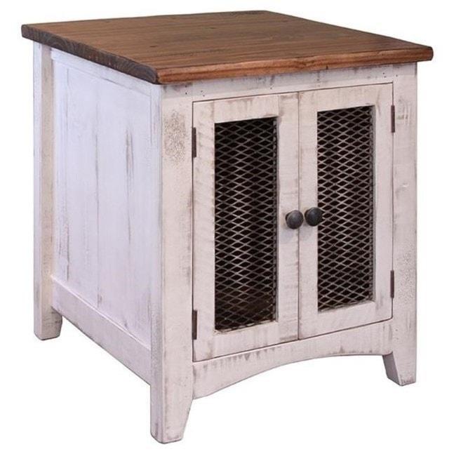 International furniture direct pueblo rustic end table with mesh doors