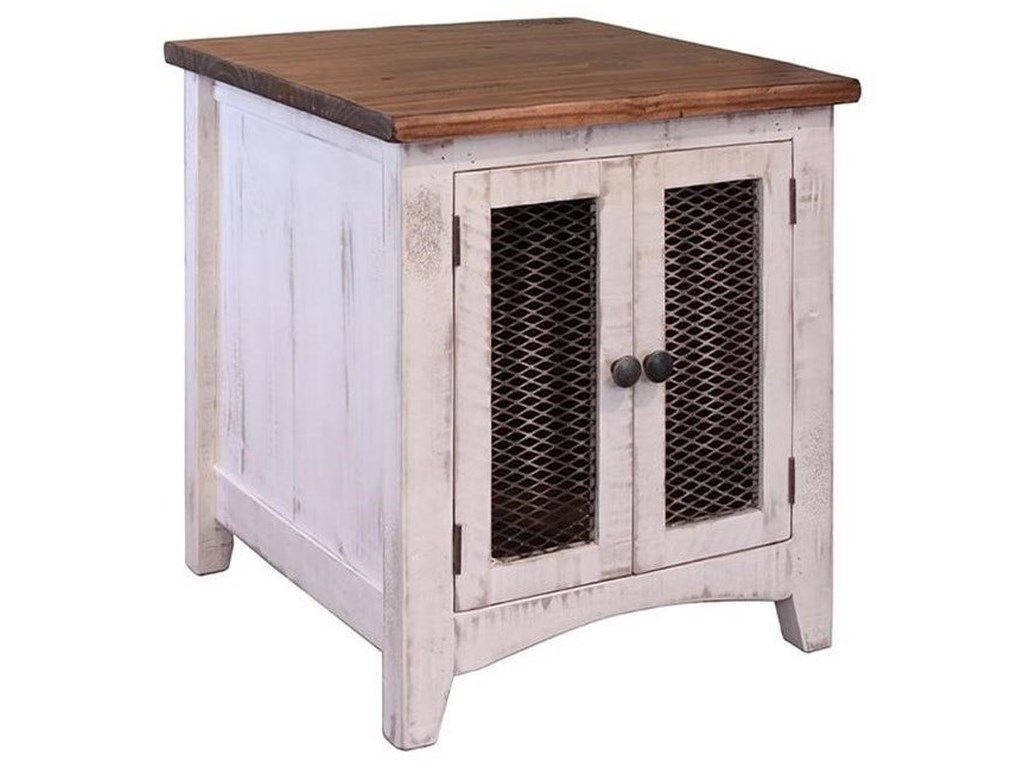 Pueblo Rustic End Table With Mesh Doors By International Furniture Direct At Coconis Furniture Mattress 1st
