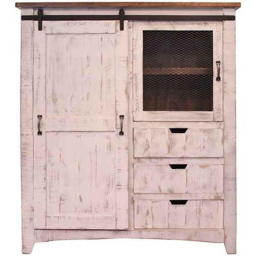 International Furniture Direct Pueblo Gentleman's Chest with Three Drawers and Two Doors