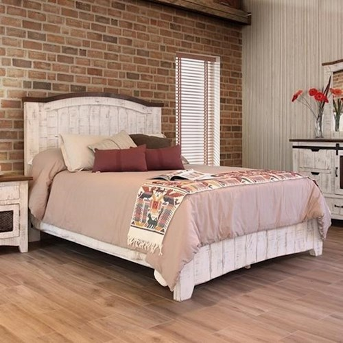 International Furniture Direct Pueblo Panel California King Bed with Plank Design