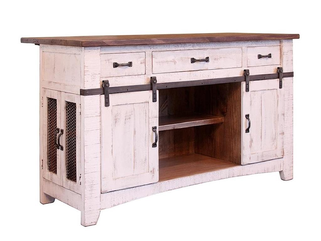 International Furniture Direct Pueblo Kitchen Island with Sliding ...