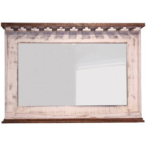International Furniture Direct Pueblo Mirror Bar with Glass Holders & Shelf