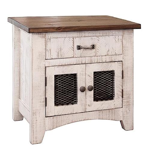 International Furniture Direct Pueblo Rustic Nightstand with Mesh Panel Doors