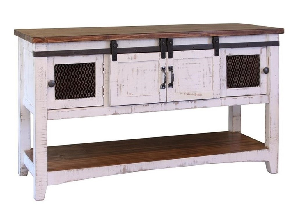 International Furniture Direct Pueblo Rustic Sofa Table With Mesh