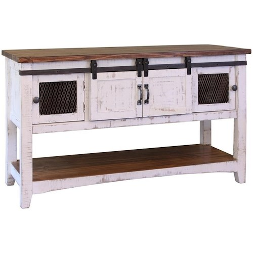 International Furniture Direct Pueblo Rustic Sofa Table with Mesh Panel Accents
