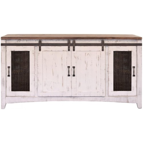 International Furniture Direct Pueblo TV Stand with Four Doors